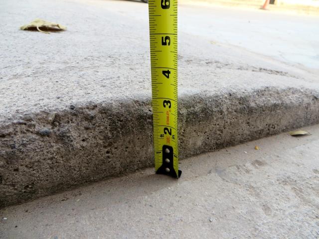 Three inches, the standard height of the tope.