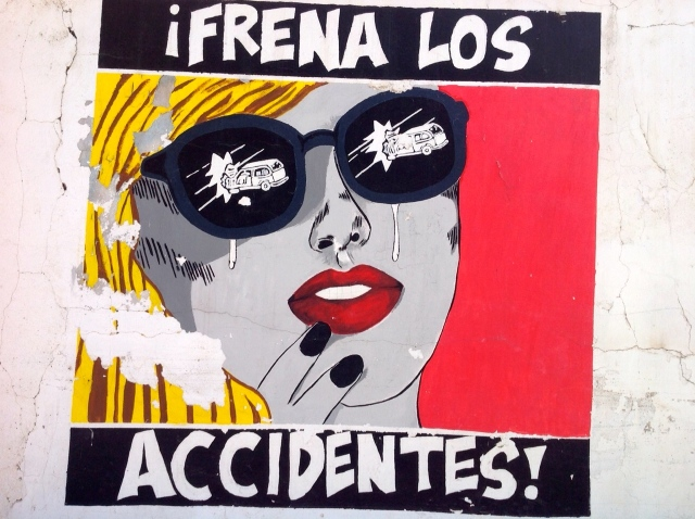 "Brake -- as in stop --  accidents! (Frenar is the Spanish verb for ""to put on the brakes"")"